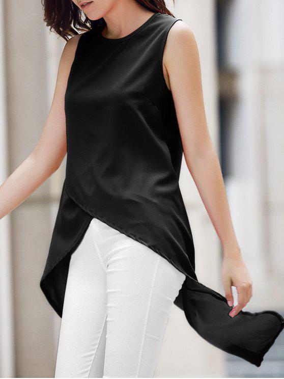 fashion Irregular Hem Chiffon Round Neck Tank Top - BLACK XL