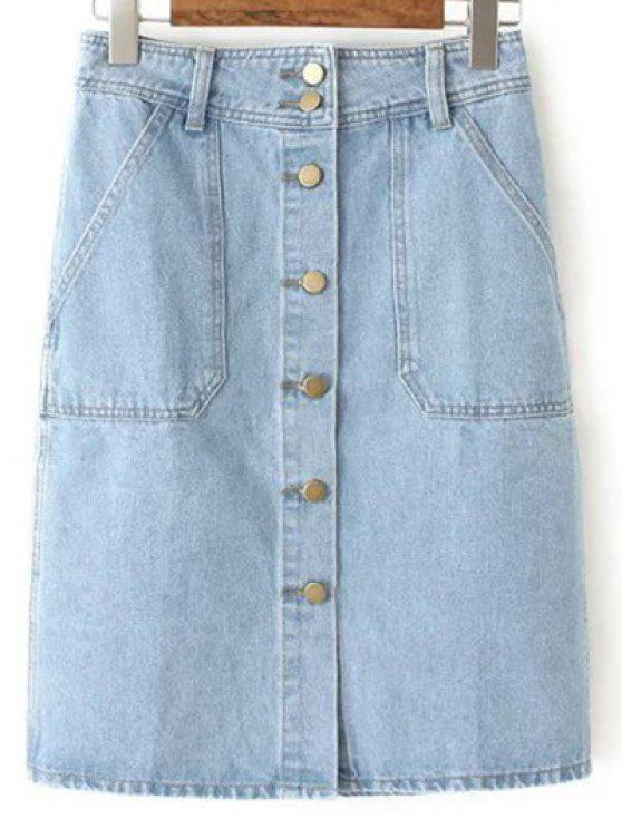 8e39fd3b91 32% OFF] 2019 Button Closure Denim Midi Skirt In LIGHT BLUE | ZAFUL