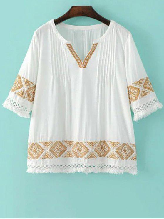 chic 3/4 Sleeve V-Neck Embroidery Blouse - WHITE M