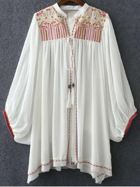 Retro bordado soporte de cuello Batwing blusa de la manga - Blanco S
