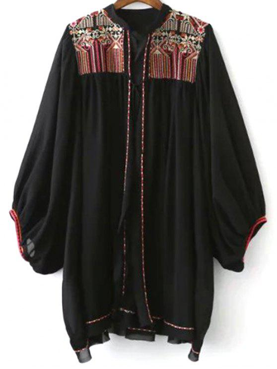 Retro Embroidery Stand Neck Batwing Sleeve Blouse - BLACK L