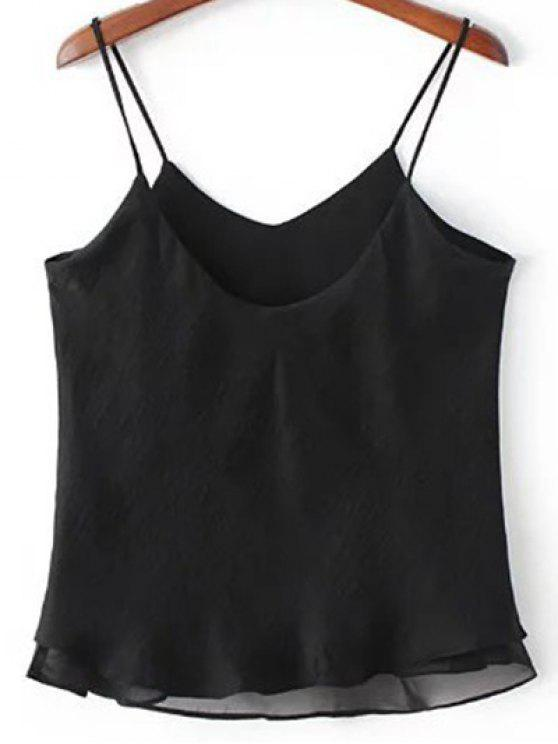 fashion Double-Layered Camisole Top - BLACK M