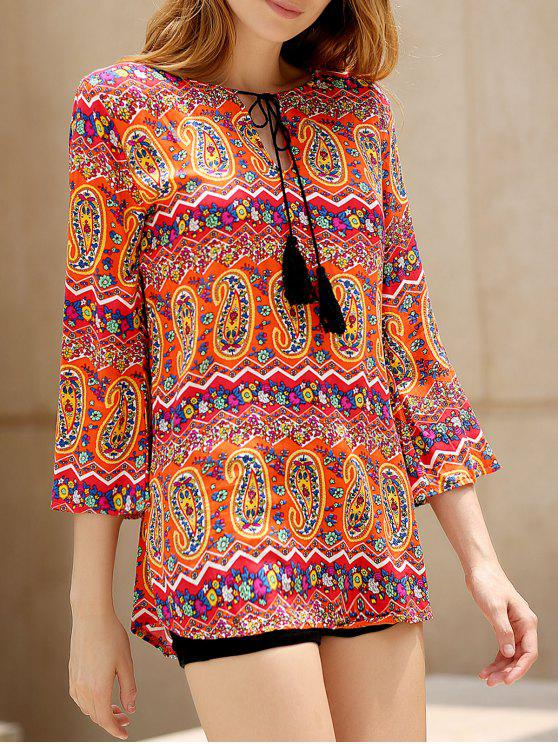 fancy Ethnic Print V Neck 3/4 Sleeves Dress - COLORMIX S