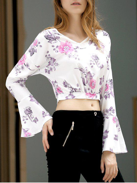 outfit Fitting Floral Print V Neck Flare Sleeve Crop Top - WHITE S