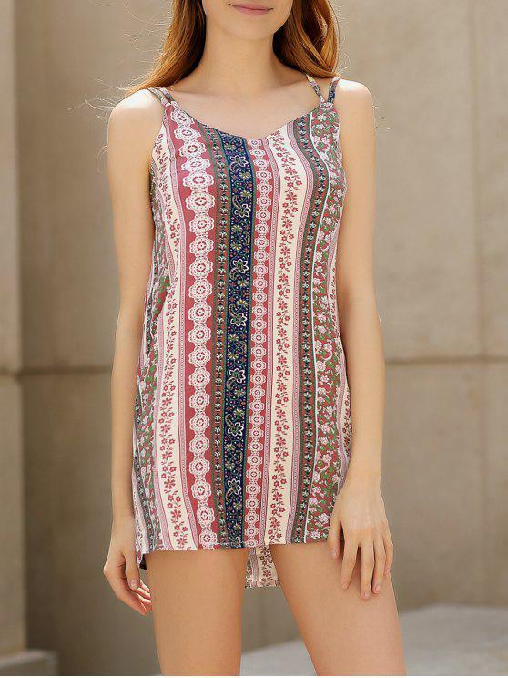 Gedrucktes Cami Kleid mit Doppelriemen - Pink M