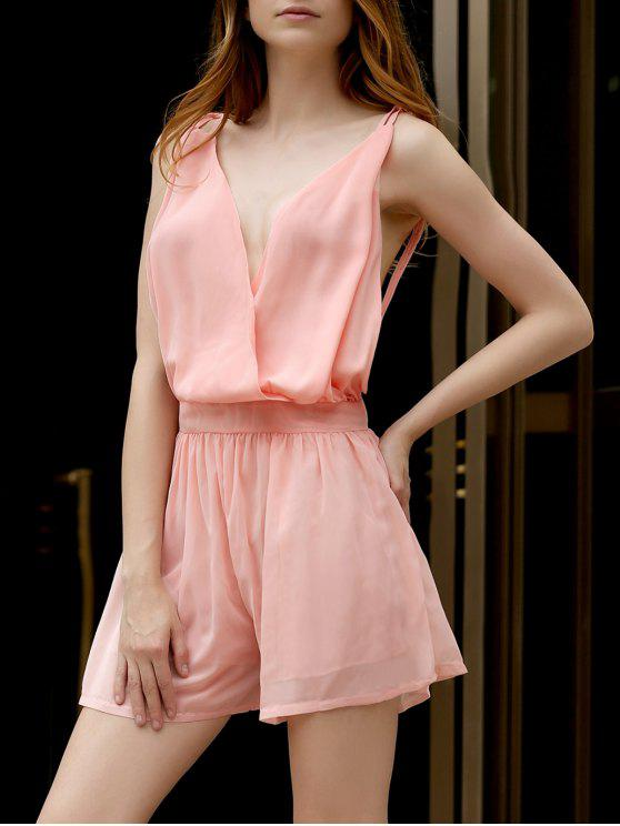 Backless Cross-Over en mousseline de soie Romper - ROSE PÂLE M