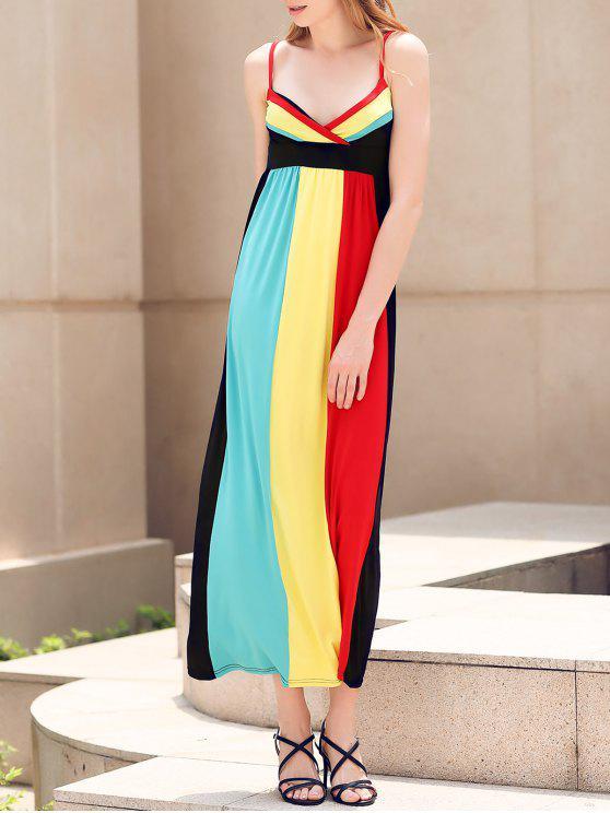 buy Color Block Empire Waist Maxi Dress - COLORMIX M