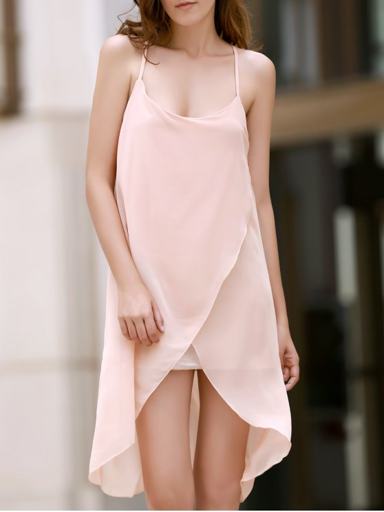 hot Irregular Hem Chiffon Cami Dress - APRICOT S