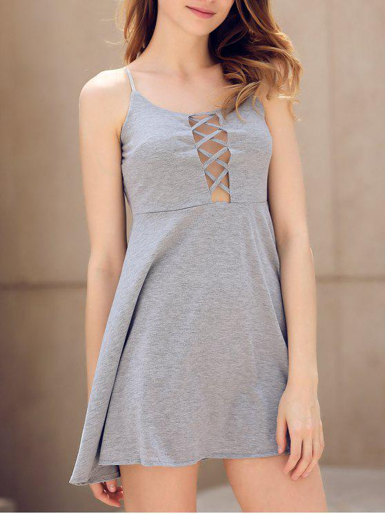 ladies Fit and Flare Lace-Up Dress - GRAY M