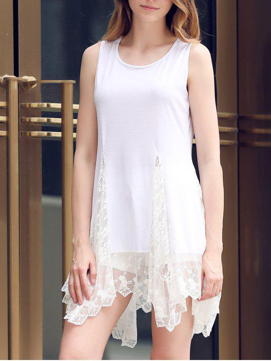 women Lace Hem Swingy Tank Dress - WHITE L