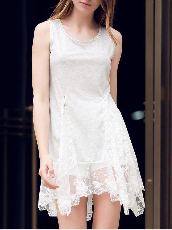 Lace Hem swingy vestido Tanque - Cinza Claro M