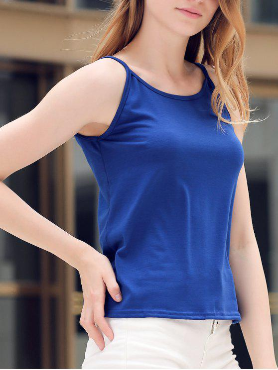Kreuz und quer durch Straps Solid Color Tank Top - Blau S