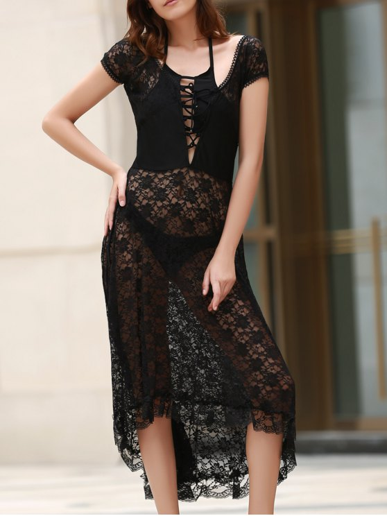 unique Scoop Neck Fit and Flare Lace Dress - BLACK L