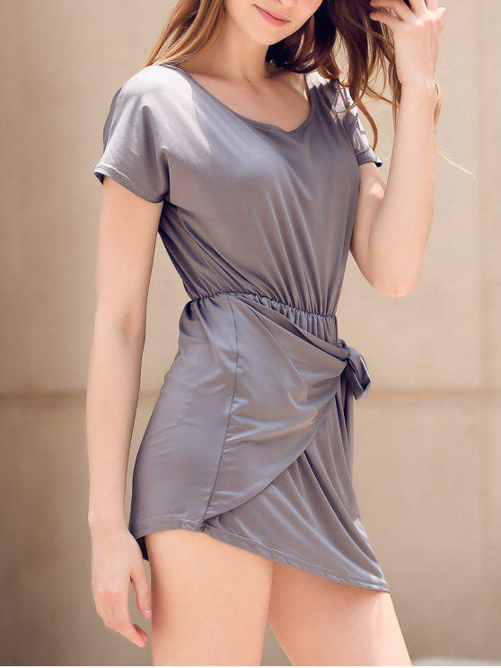 Laço Frente Vestido Irregular - Cinza S