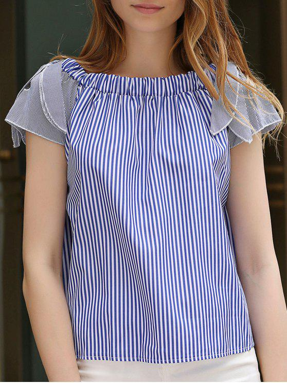 affordable Off-The-Shoulder Striped Top - BLUE L