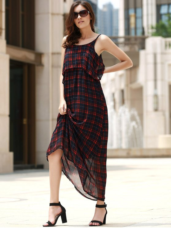 sale Plaid Flounce Cami Chiffon Maxi Dress - CHECKED M