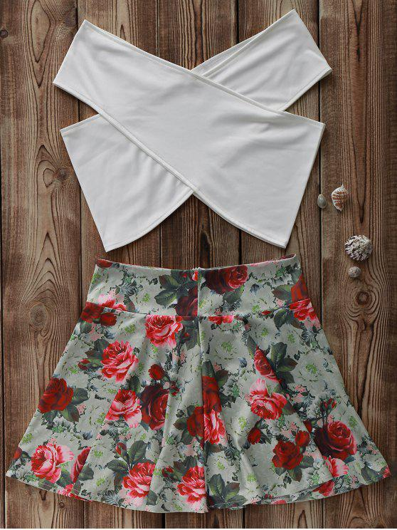 lady White Cross Crop Top and Floral A Line Skirt Suit - COLORMIX XL