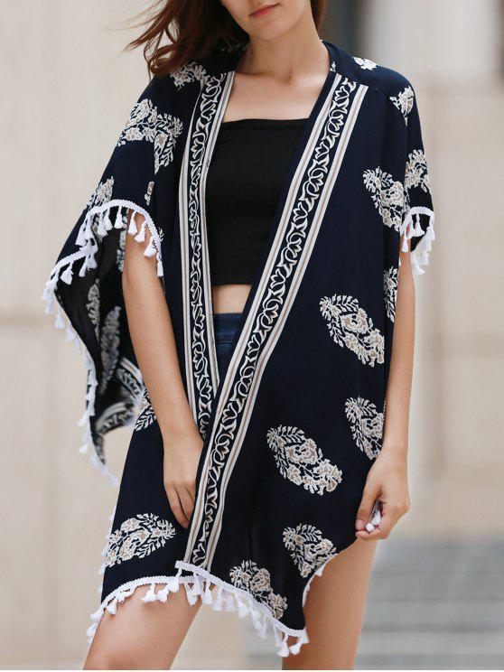 Impreso con flecos de la blusa kimono - Azul Marino  M