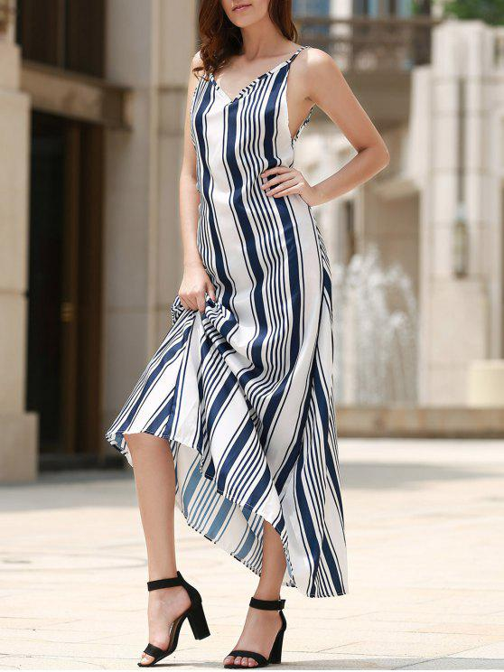 womens Backless Vertical Stripe Beach Dress - BLUE AND WHITE L