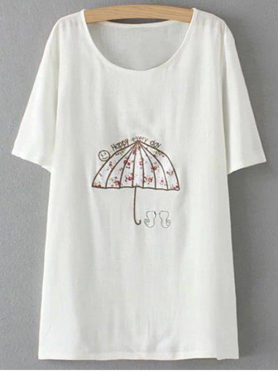 Más el tamaño del paraguas de la camiseta - Blanco 3XL