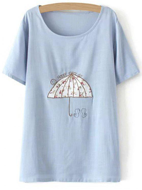 lady Plus Size Umbrella T-Shirt - LIGHT BLUE 3XL