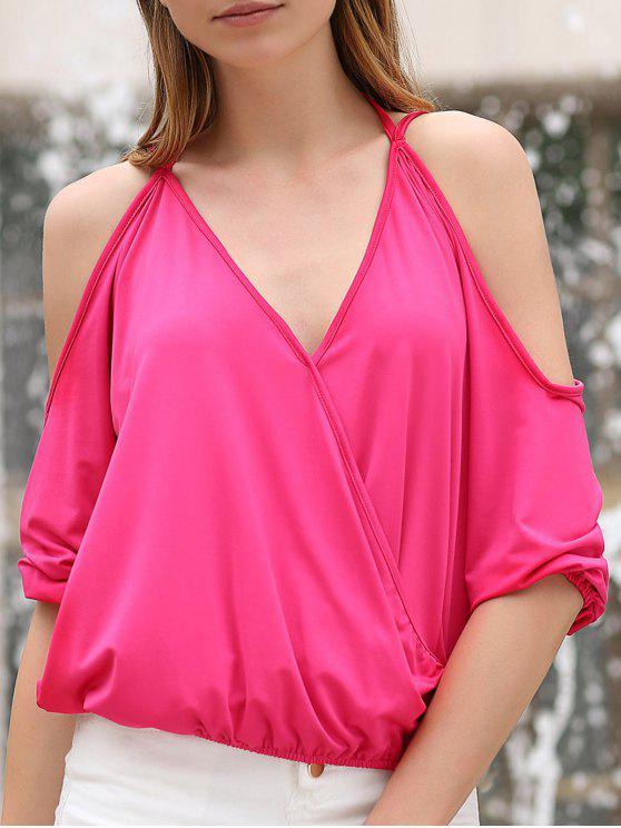 Cold Shoulder Hundiendo cuello cruzado de la camiseta - Rosa L