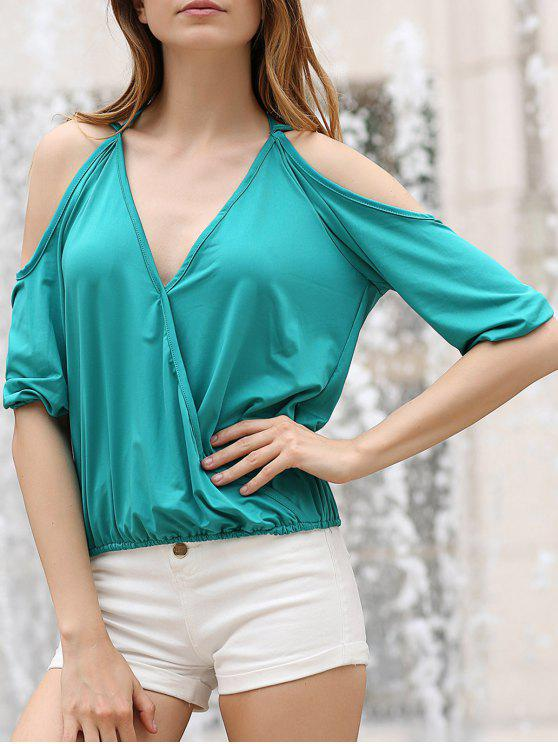 Cold Shoulder Plongeant Neck Crossed T-shirt - Vert L