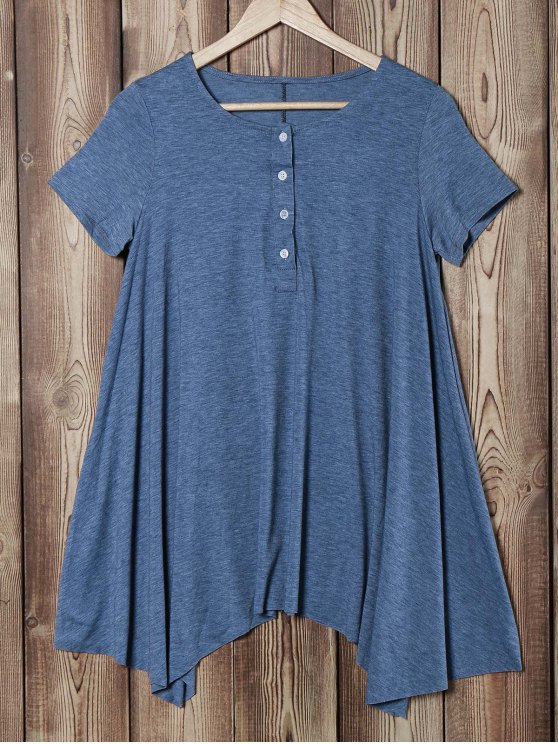 affordable Oversized Asymmetric T-Shirt - BLUE GRAY L