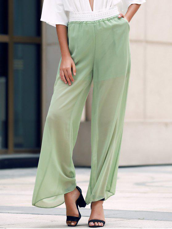 Pierna ancha pantalones transparentes de encaje empalmado - Verde del ejército L
