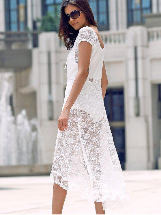 latest Scoop Neck Fit and Flare Lace Dress - WHITE L