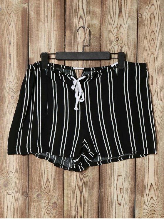 Rayado Recortable suelta pantalones cortos de cintura alta - Negro XL