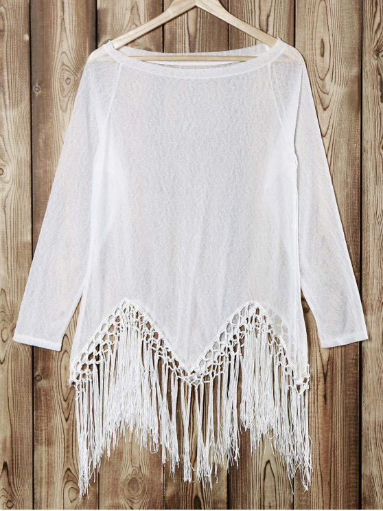 buy Tassels Scoop Neck Long Sleeve Knit T-Shirt - WHITE S