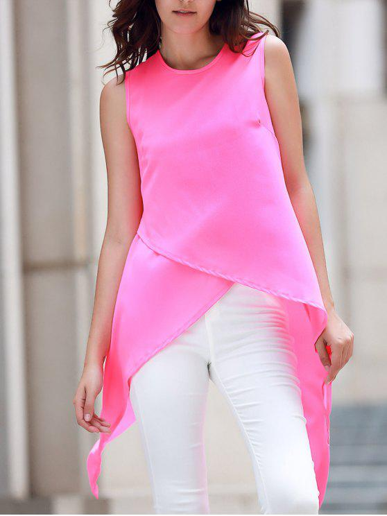 hot Irregular Hem Chiffon Round Neck Tank Top - ROSE XL
