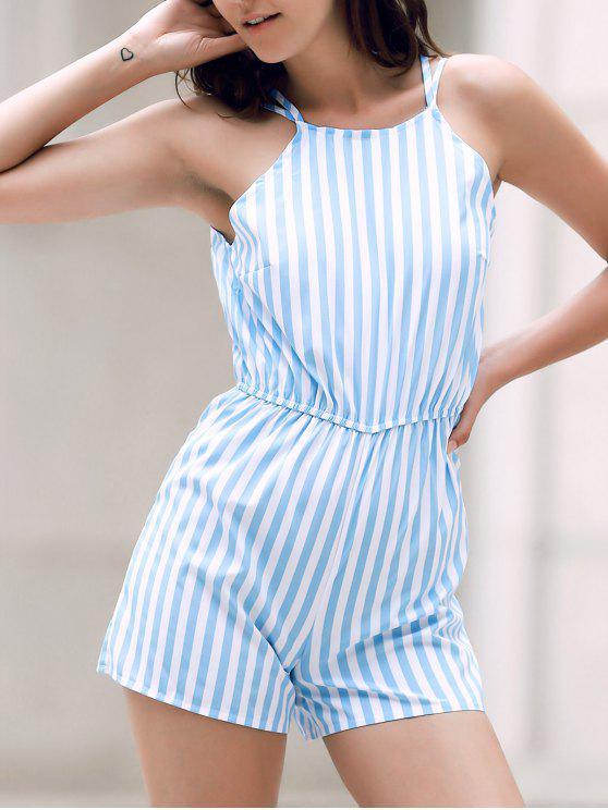 Backless rayures fines bretelles sans manches Romper - Bleu XL