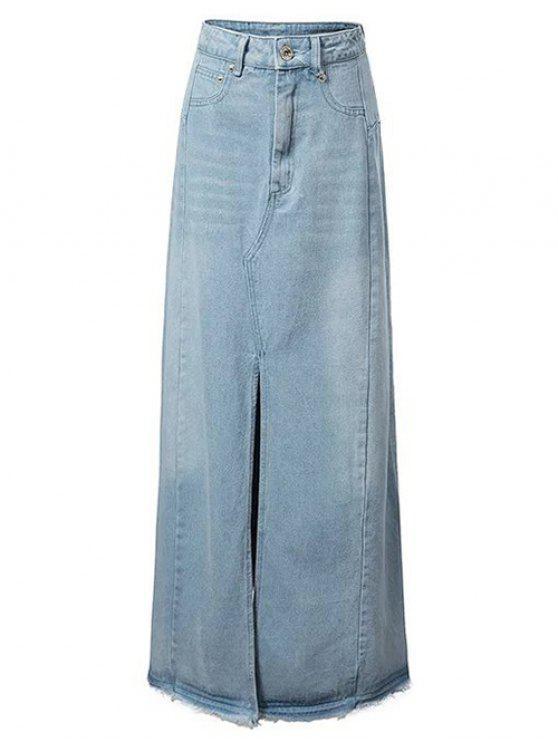 lady Front Slit Long Denim Skirt - LIGHT BLUE M