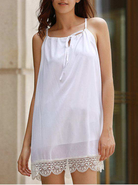 Vestido Monoromático de Halter con Empalme de Encaje - Blanco XL