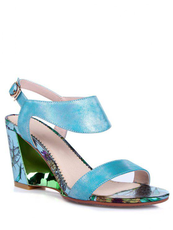 outfit Print Candy Color Wedge Heel Sandals - BLUE 36
