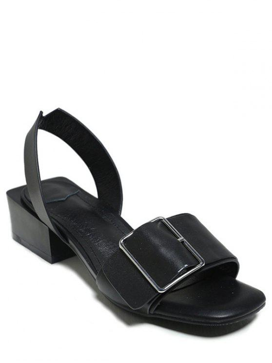 Buckled Chunky Heel Sandals - Black 37 buy cheap comfortable cheap wholesale price buy cheap visit new jnr8Oozt