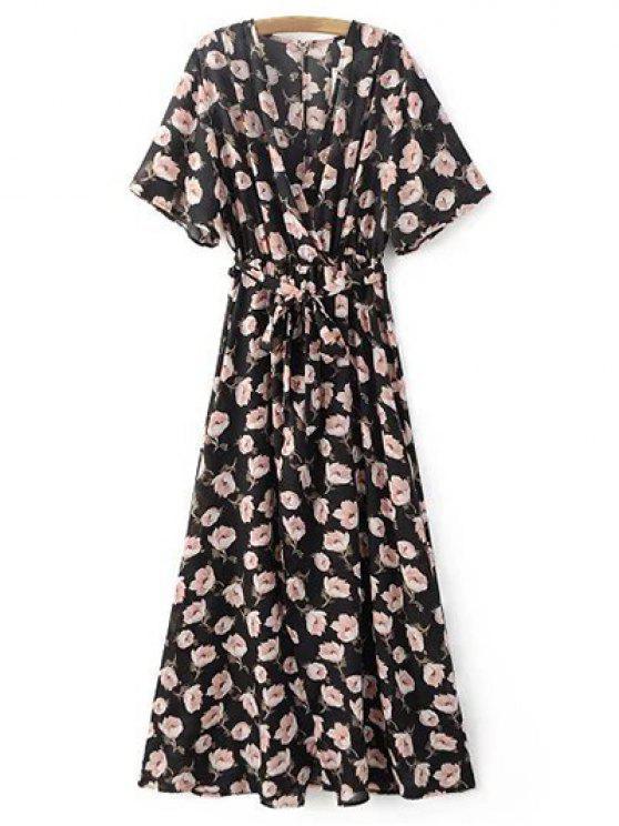ladies Crossover Printed Maxi Chiffon Dress - BLACK M