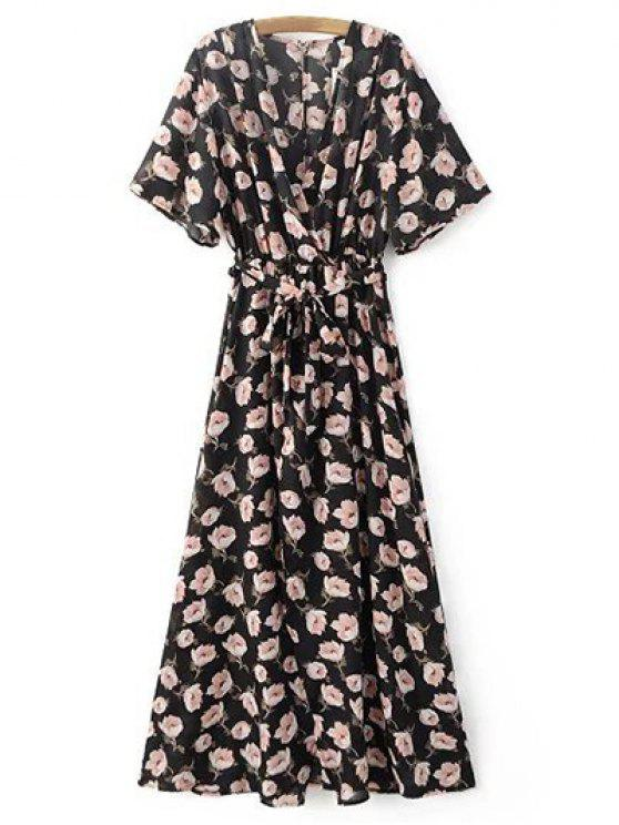 Crossover imprimió el vestido de gasa Maxi - Negro M