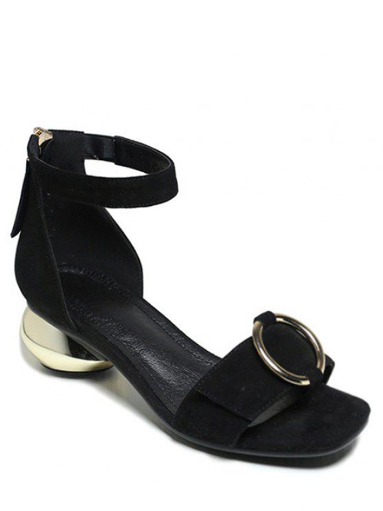 Talón de metal extraño sandalias de correa de tobillo - Negro 39