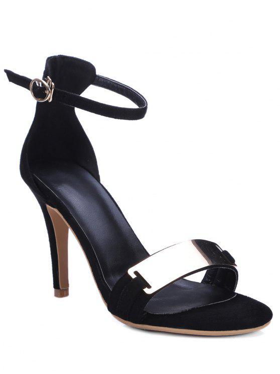 Sandalias de tacón de aguja con cierre de tiras metálicas - Negro 34