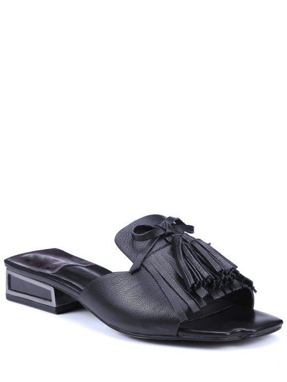 Fringe Solid Color Low Heel Slippers - Negro 39