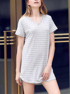 V-Neck Striped Tee Dress - Gray L
