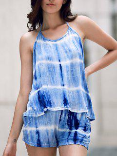 Print Halter Tank Top And Wide Leg Shorts Suit - Blue L