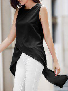 Irregular Hem Chiffon Round Neck Tank Top - Black Xl