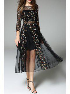 Tiny Floral Embroidered Sheer Dress - Black S