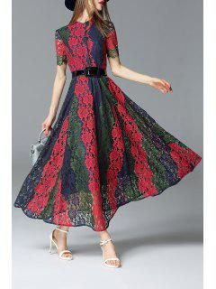 Color Block Lace Maxi Dress - S