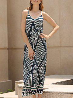 Argyle Print Spaghetti Straps Maxi Dress - 2xl