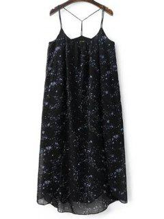 High Slit Spaghetti Straps Galaxy Print Dress - Black S